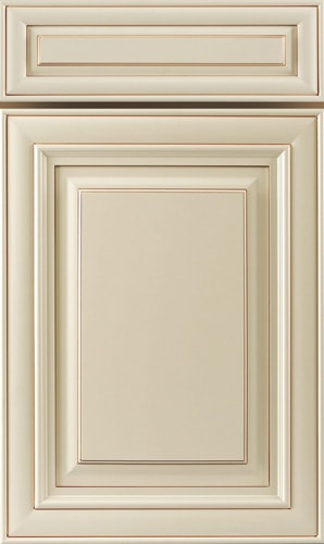 Crème Glazed White Raised Panel Kitchen Cabinet