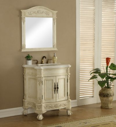 Chelsea 30′ Vanity with Matching Mirror – Antique White