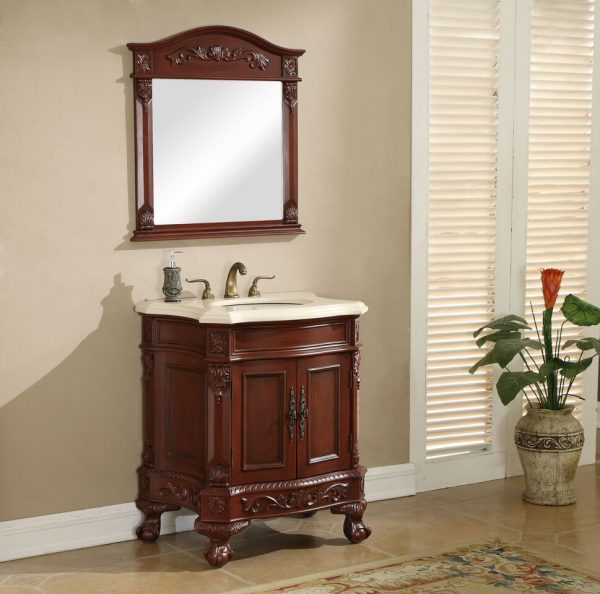 Chelsea 30′ Vanity with Matching Mirror – Cherry