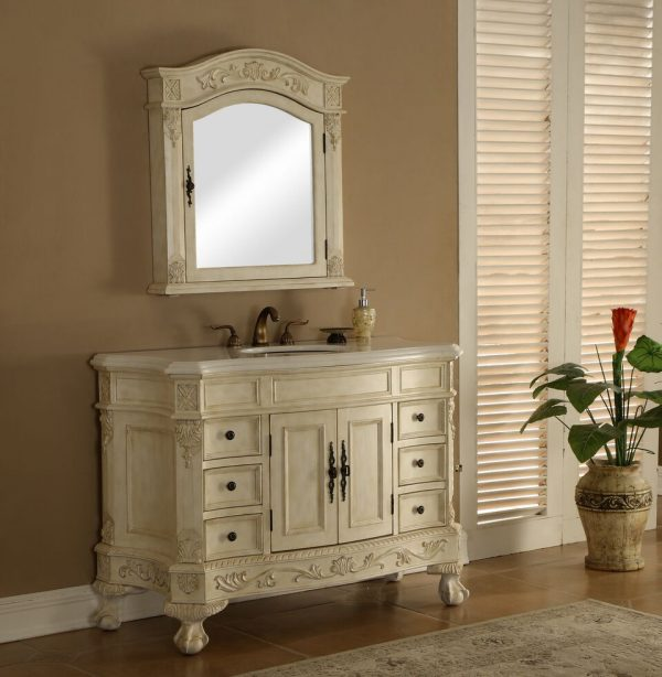 Chelsea 48′ Vanity with Matching Medicine Cabinet – Antique White
