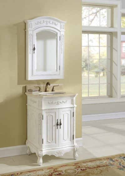 Kensington 24′ Antique White Vanity with Matching Medicine Cabinet