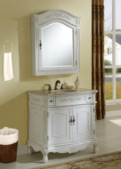 Kensington 36′ Antique White Vanity with Matching Medicine Cabinet