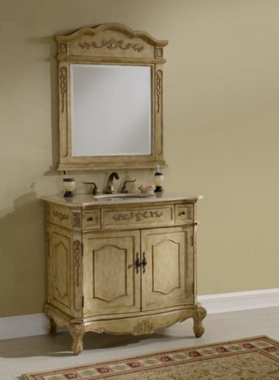Kensington 36′ Tan Vanity with Matching Mirror