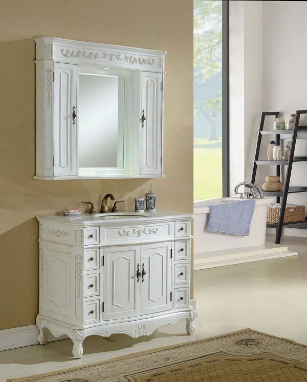 Kensington 42′ Antique White with Matching Medicine Cabinet