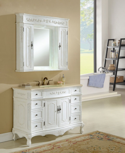 Kensington 48′ Antique White with Matching Medicine Cabinet