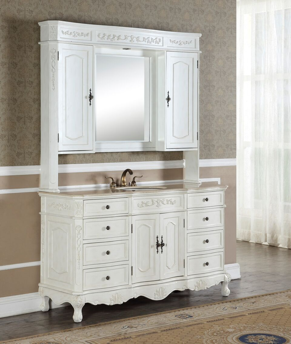"""Kitchen Cabinets Lakeland Fl: Kensington 60"""" Single In Antique White With Matching"""