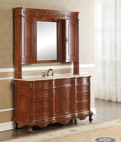 Kensington 60′ Single in Teak with Matching Medicine Cabinet