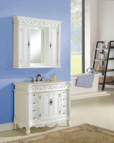 Tuscany 42′ Antique White with Matching Medicine Cabinet