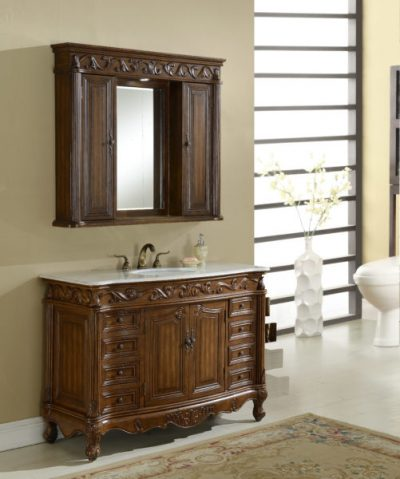 Tuscany 48′ Teak with Matching Medicine Cabinet