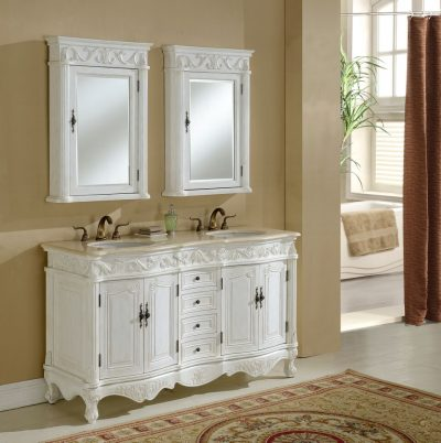Tuscany 60′ Antique White Double with Matching Medicine Cabinet