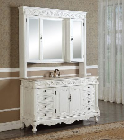 Tuscany 60′ Antique White Single with Matching Medicine Cabinet
