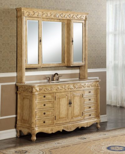 Tuscany 60′ Tan Single with Matching Medicine Cabinet