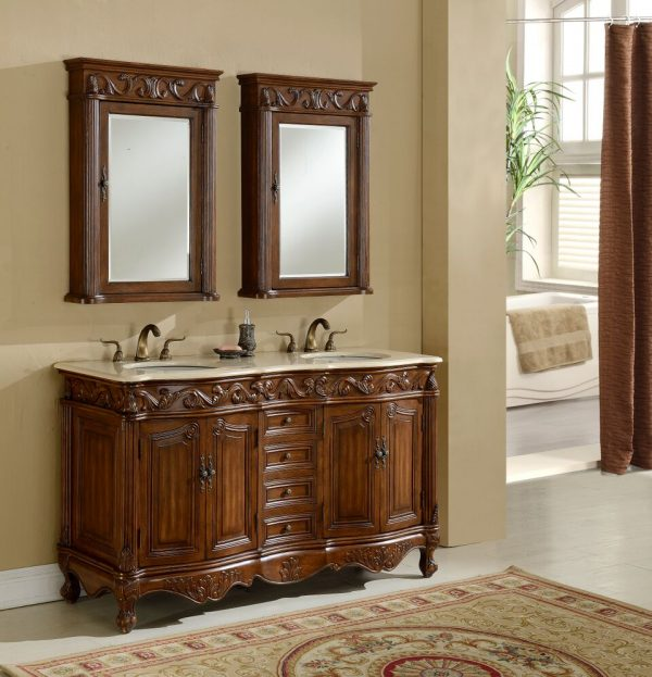 Tuscany 60′ Teak Double with Matching Medicine Cabinet
