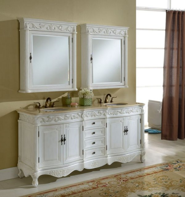 Tuscany 72′ Antique White with Matching Medicine Cabinet