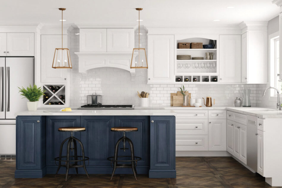 Park Avenue White and Blue Style Kitchen